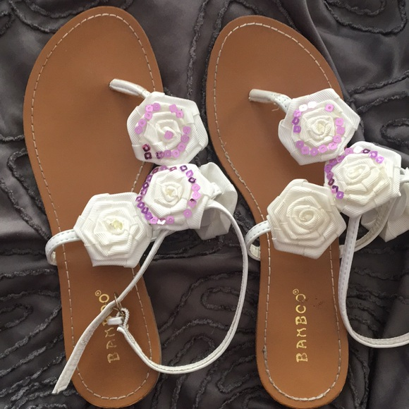 Bamboo Shoes White Sandals With Flowers Poshmark